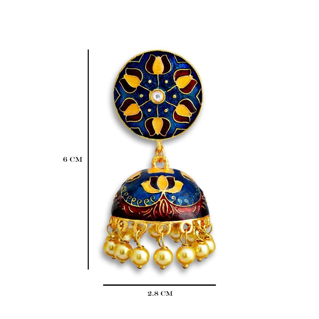 Meenakari Lotus Design Yellow Gold Plated Tokri Jhumka Earring