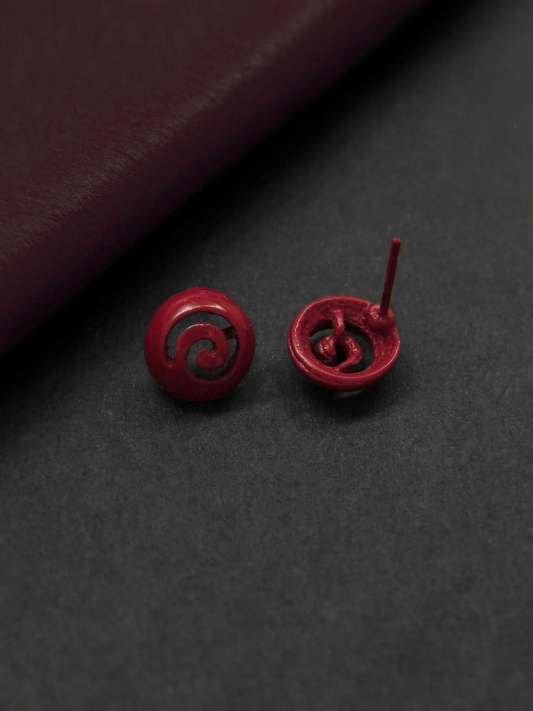 Maroon Color Geometric Design Stud Earring By Aana-AANA-Earring