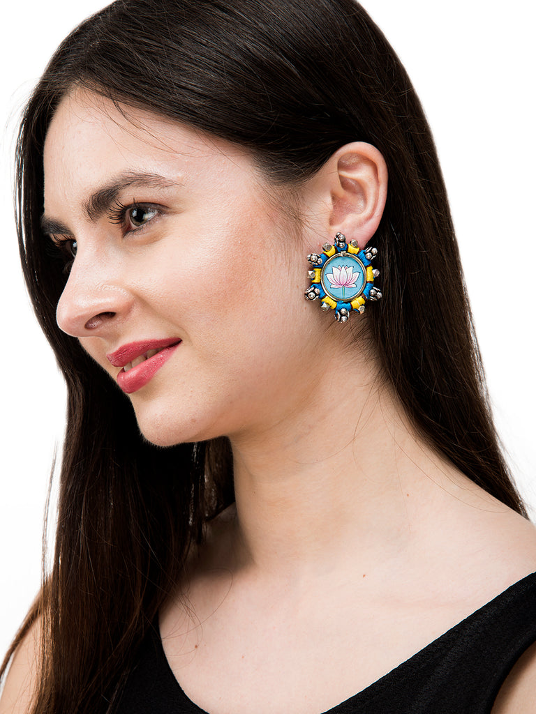 Turquoise Colour Lotus Design Stud Earring