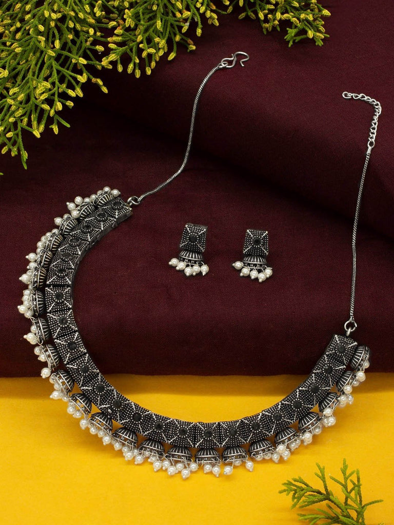 Oxidised Silver Plated Geometric Design With Hanging Pearls Choker Necklace Set-OXIDIZED-Necklace Set