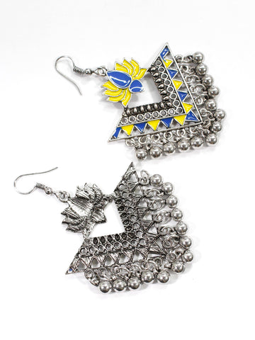 Aana Silver Plated Yellow And Blue Color Lotus Design Afghani Earring
