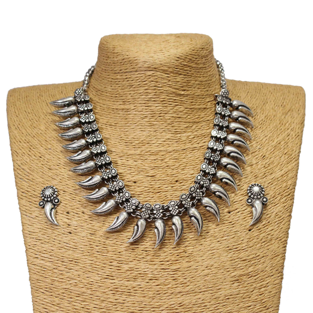 Oxidised German Silver Leaf Design Choker Necklace Set