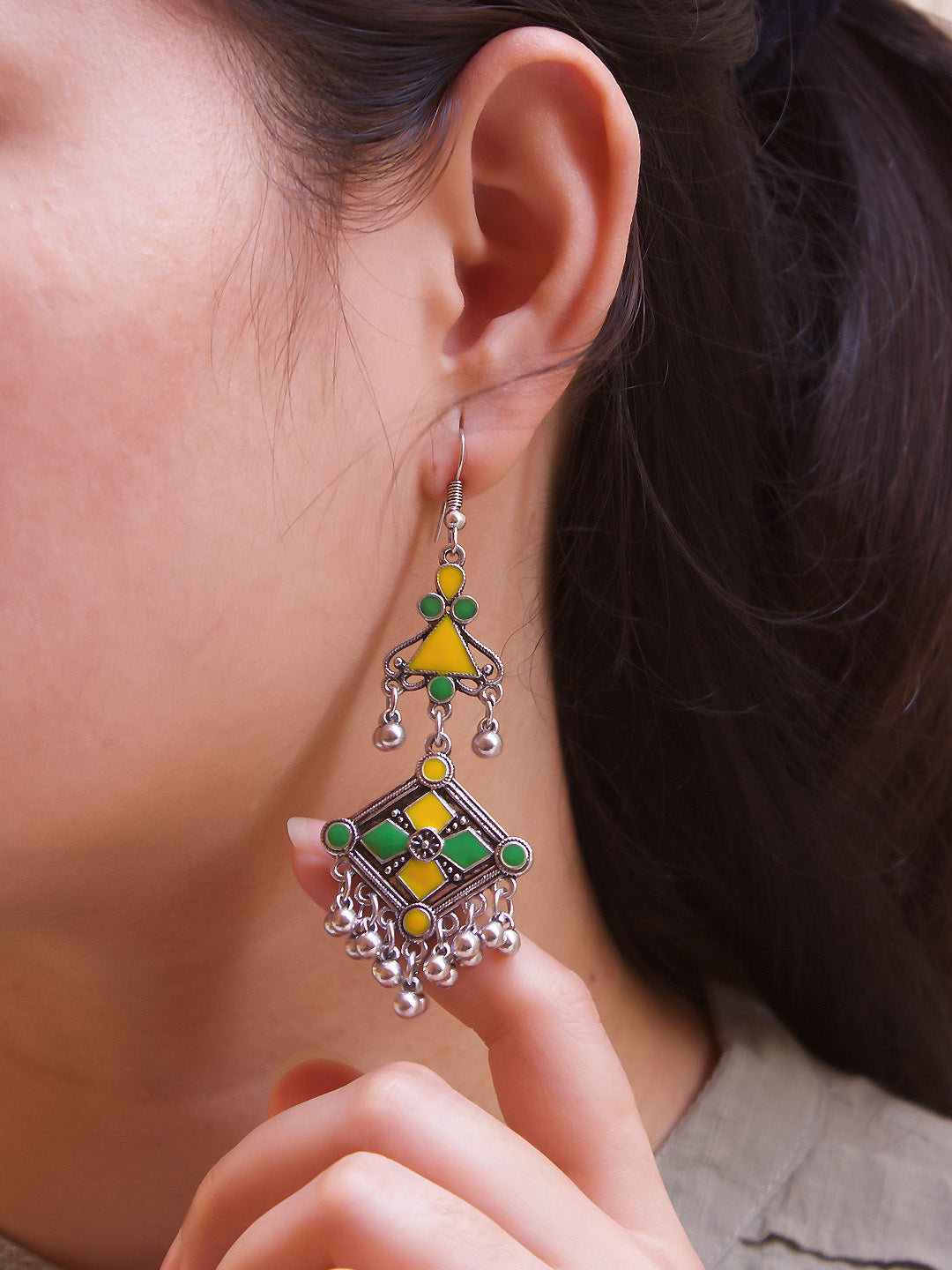 Aana Silver Plated Floral Design Yellow And Green Color Enamel Painted With Hanging Silver Beads Dangler Earring-AANA-Earring