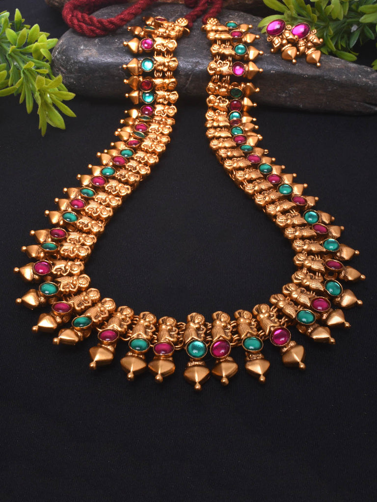 Avismaya Temple Jewellery Matt Gold Antique Finish Shilabalika Design Long Haram Necklace Set-AVISMAYA1-Necklace Set