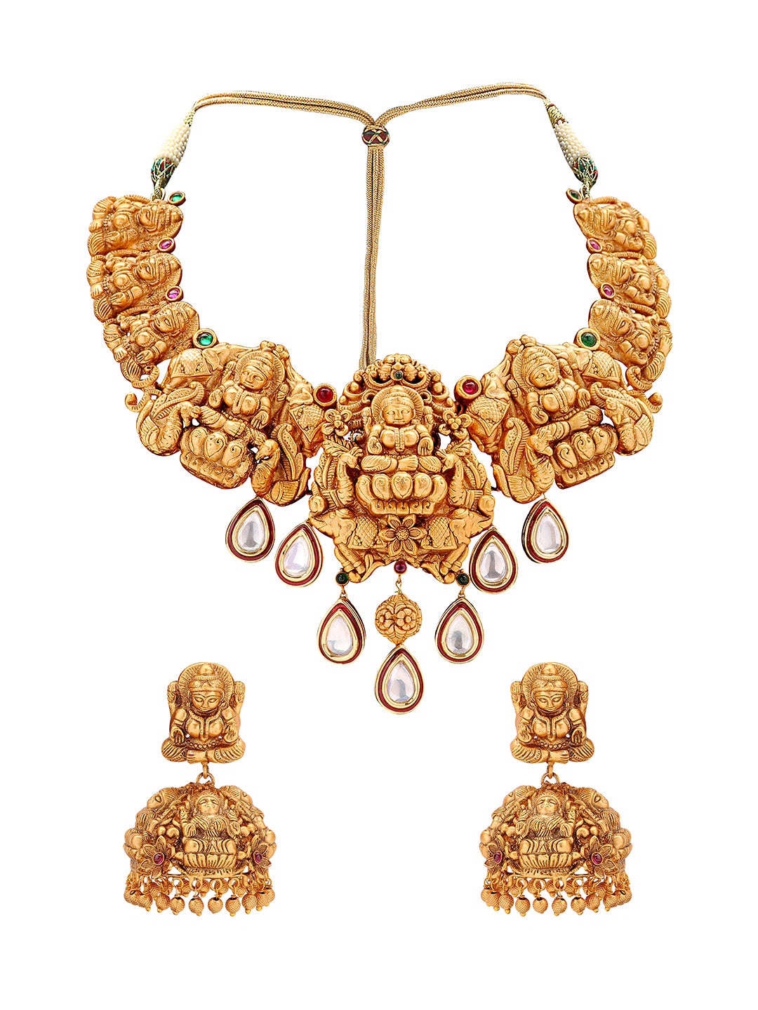 Joules By Radhika Gold Plated Royal Temple Lakshmi Design Choker Necklace Set-JOULES BY RADHIKA-Necklace Set