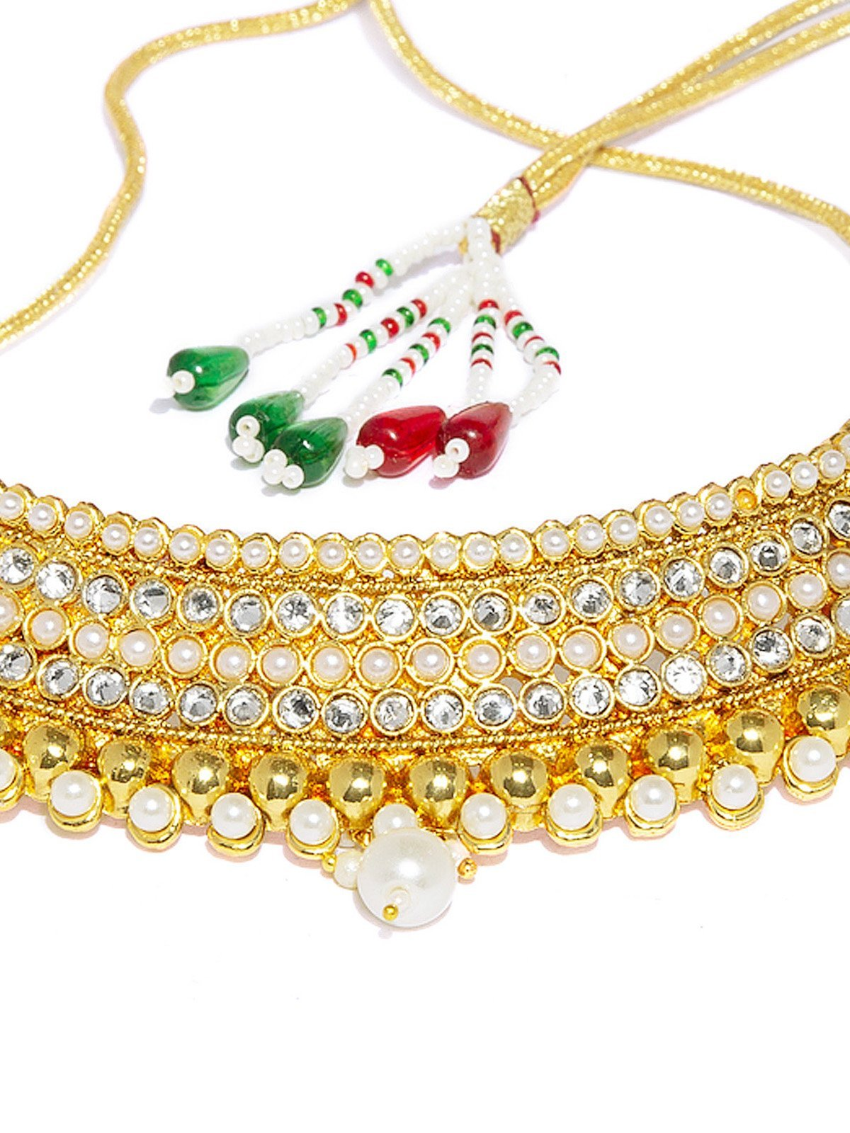Gold Tone Kundan And Pearl Studded Choker Necklace Set