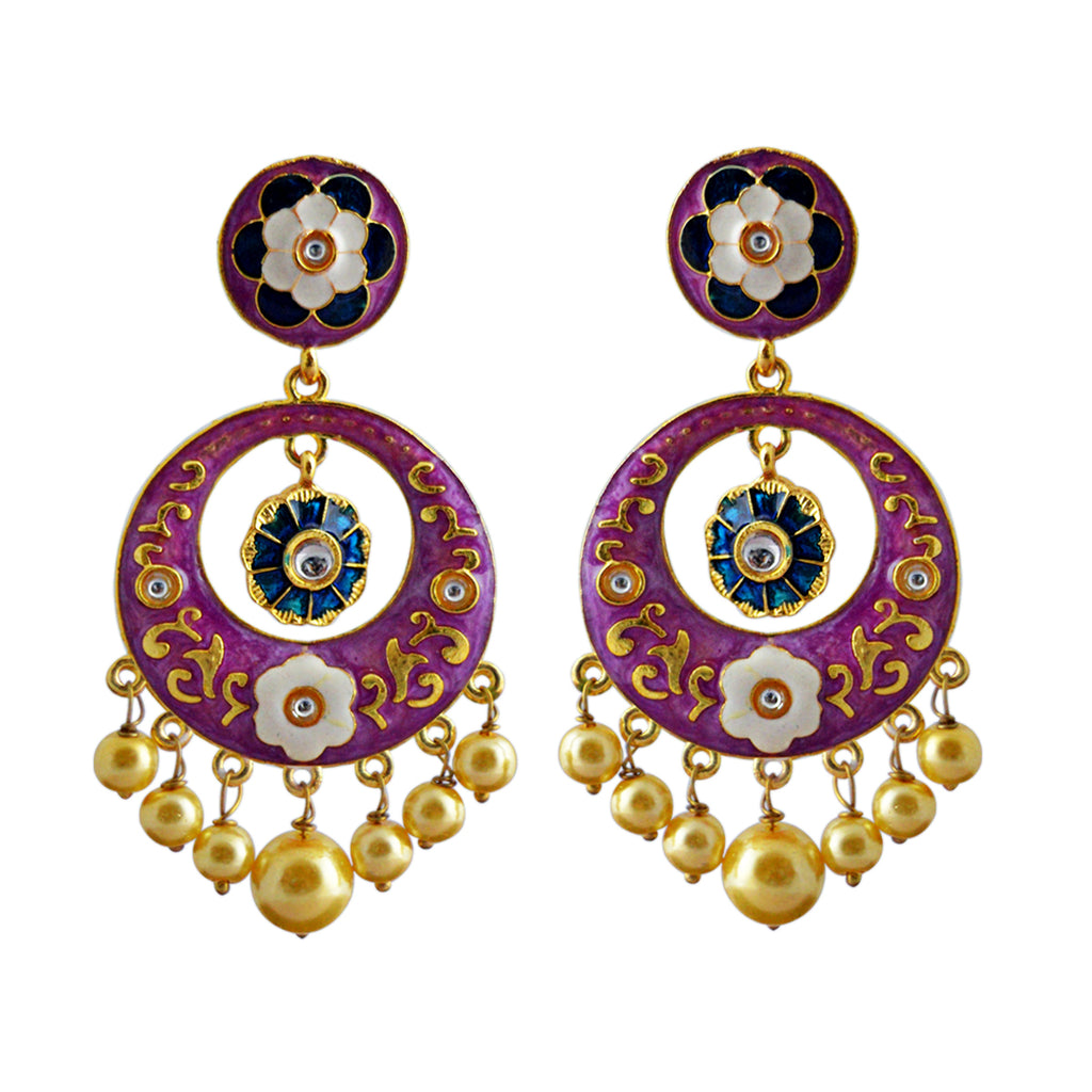 Floral Design Light Purple Color With Kundan Stone Dangler Earring-MK JEWELLERS1-Earring