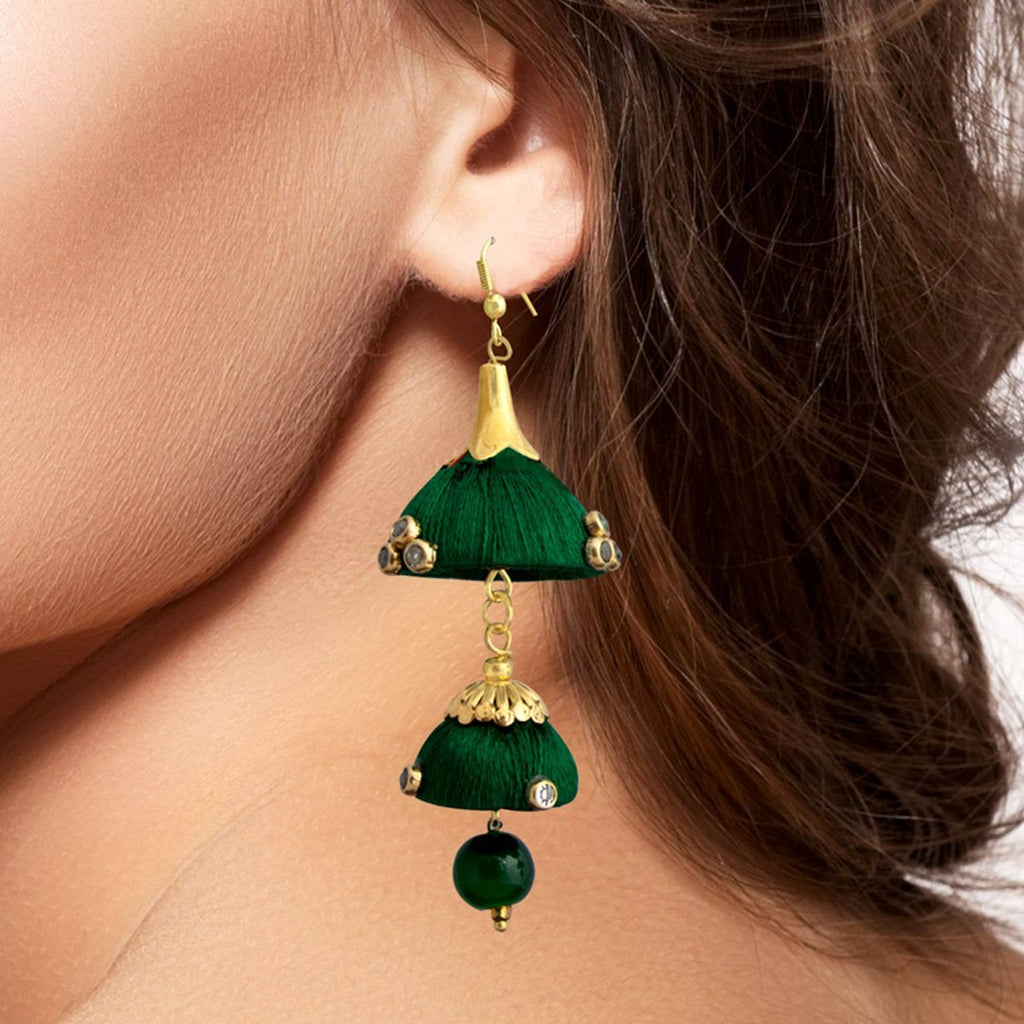 Dark Green Colour Traditional Double Dome Threaded Earring