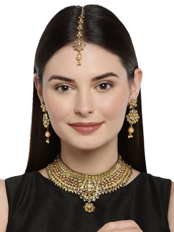 Zaveri Pearls Antique Gold Tone Bridal Choker Necklace Set
