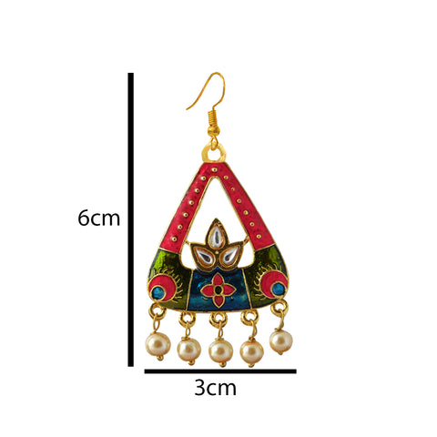 Mk Jewellers Blue And Pink Color Meenakari Arched Design Dangler Earring