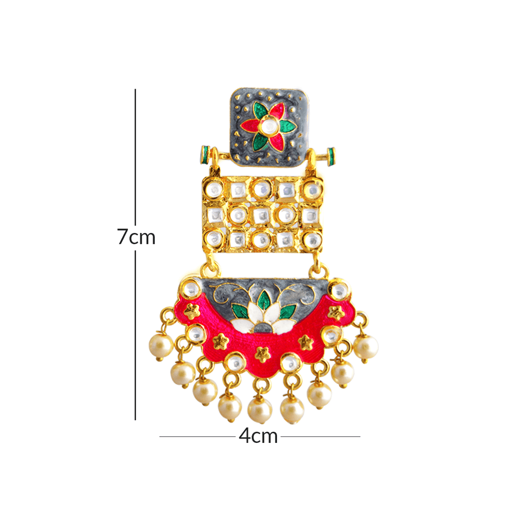 MK Jewellers Pink And Gray Color With Kundan Stone Meenakari Dangler Earring-MK JEWELLERS1-Earring