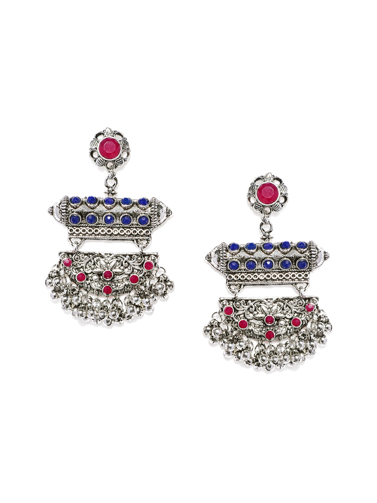 Zaveri Pearls Antique Silver Tone Dangle And Drops Earring