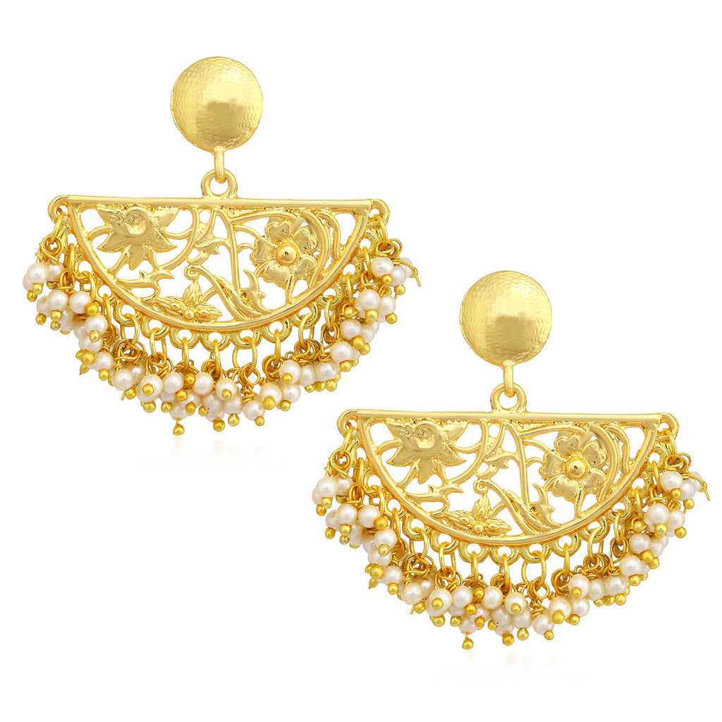 Sukkhi Fashionable Pearl Gold Plated Floral Chandelier Earring For Women-SUKKHI1-Earring