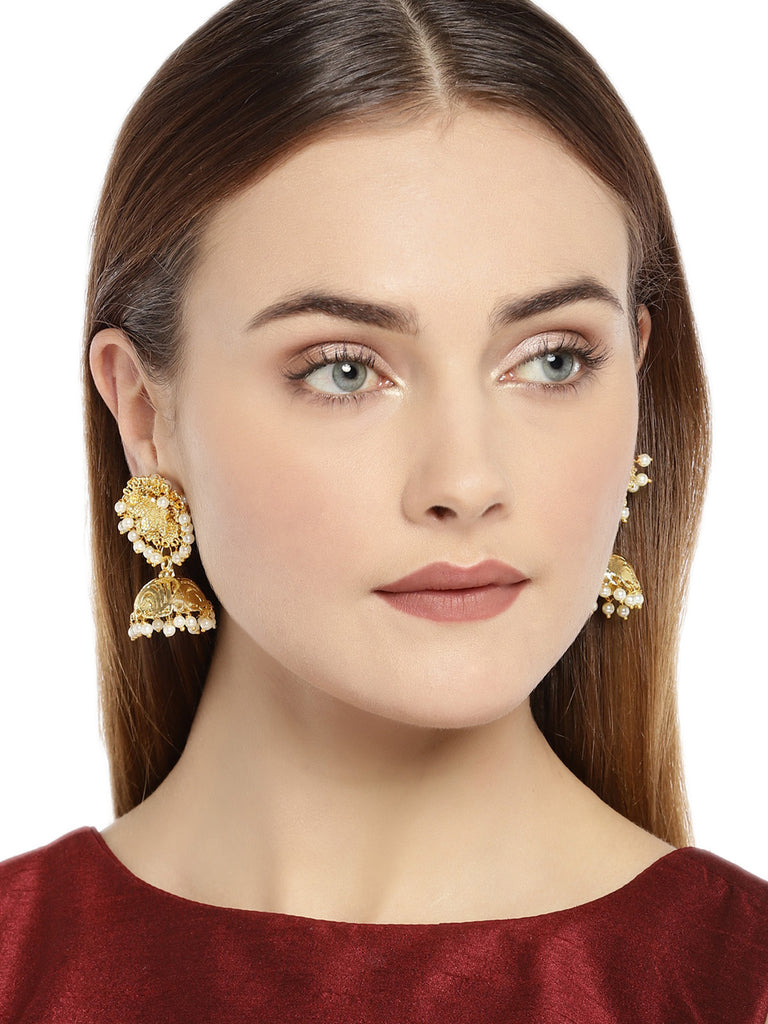 Zaveri Pearls Gold Tone embellished With Pearls Jhumka Earring