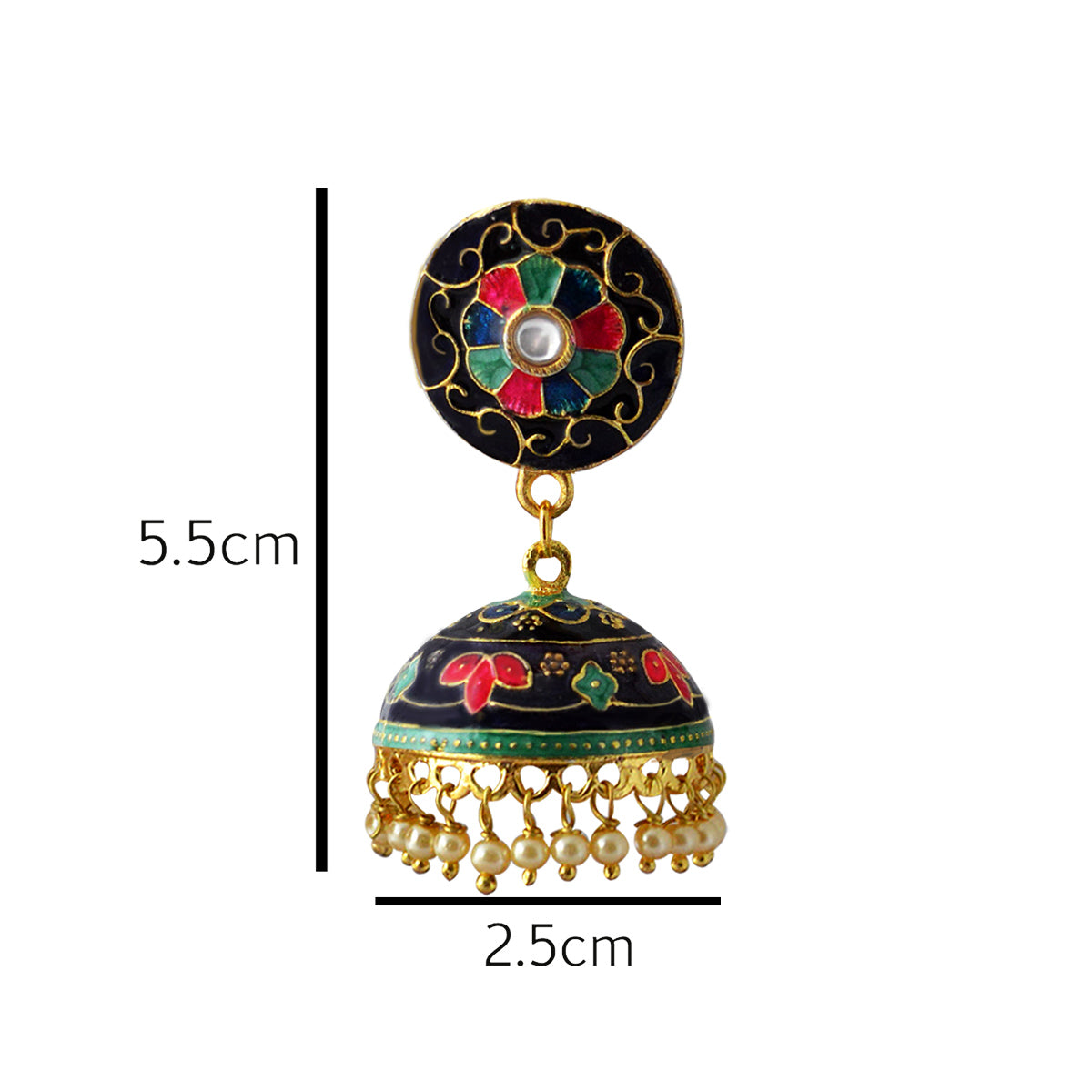 Mk Jewellers Multicolor Meenakari Jhumka Earring-MK JEWELLERS1-Earring