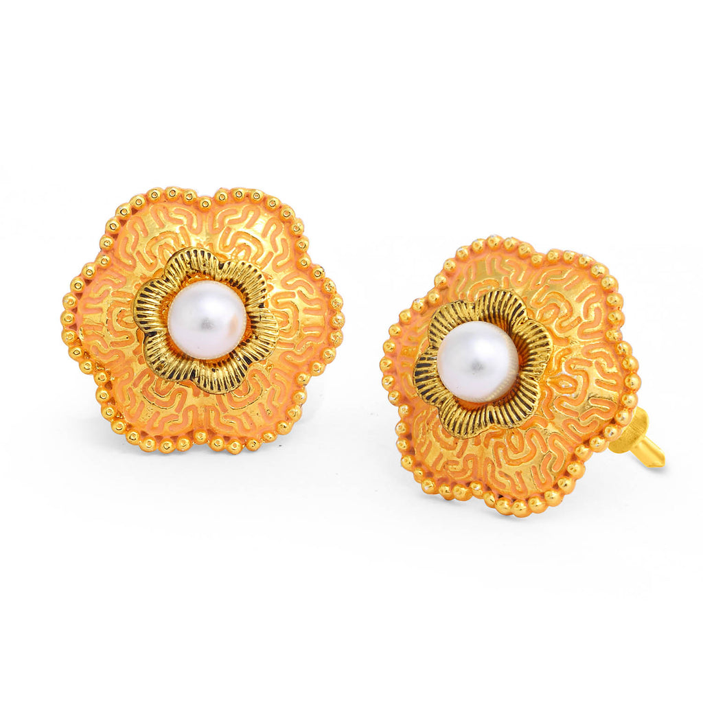 Sukkhi Floral Gold Plated Pearl Pink Mint Meena Collection Stud Earring For Women-SUKKHI1-Earring