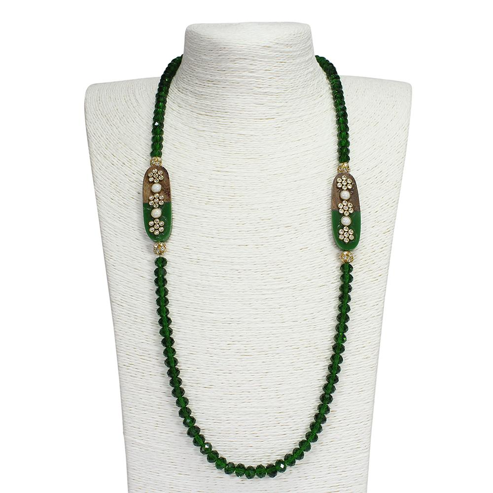 Semi Precious Green Crystal Necklace with Kundan and Pearl Work