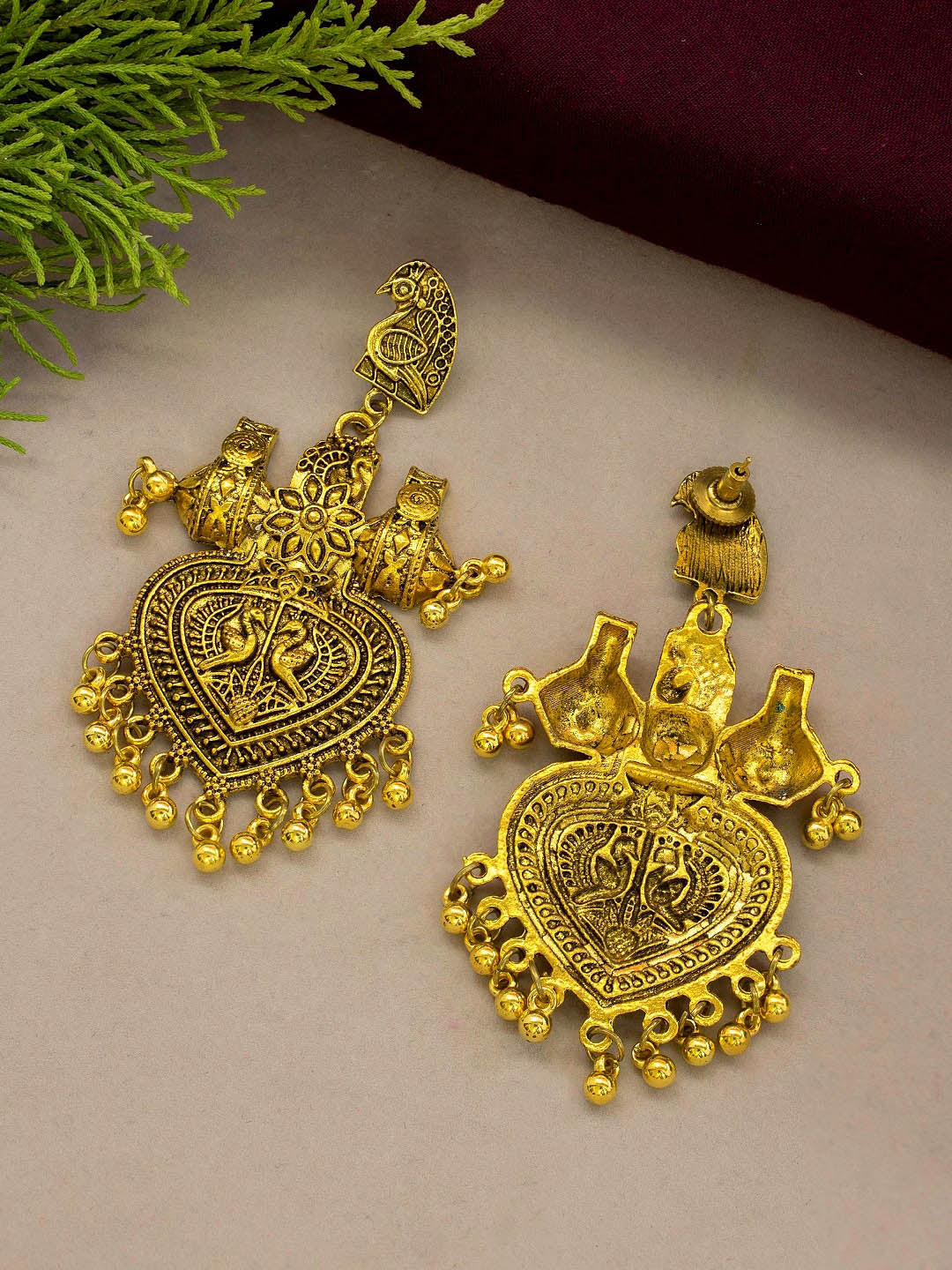 Jumkey Aykya Antique Gold Plated Peacock Design Pendant With Hanging Beads Long Necklace Set-JUMKEY AYKYA-JEWELLERY SET