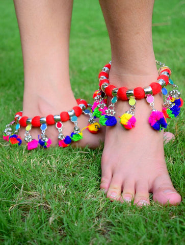 GiftPiper Red Threaded Anklet with Pom Pom Tassels
