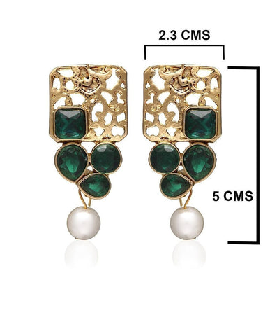 Zaveri Pearls Green  Dangle Earring