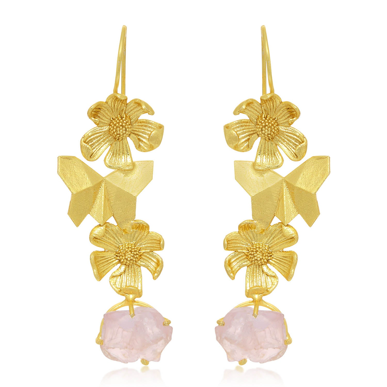 Sukkhi Gleaming Gold Plated Butterfly and Flower Dangle Earring For Women-SUKKHI1-Earring