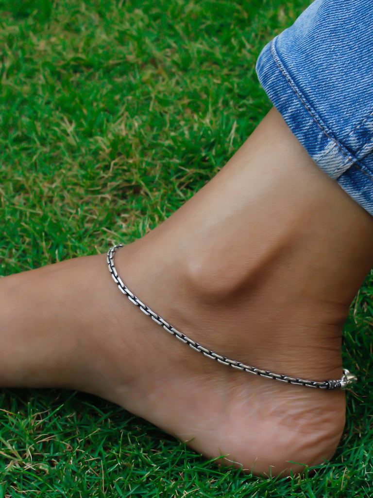 Lightweight Silver Plated Geometric Design Boho Anklets-OXIDIZED1-Anklet