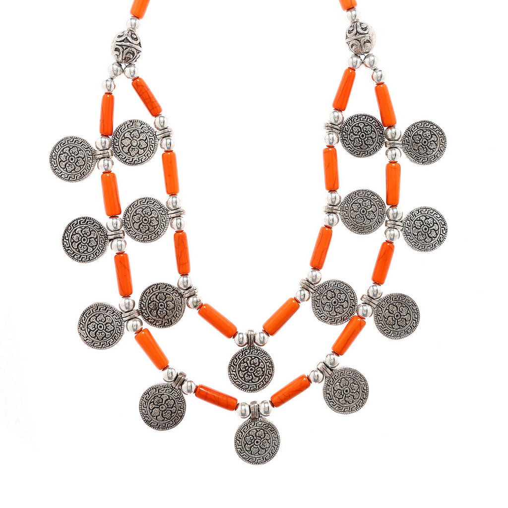 Oxidised Silver Plating Coin Motifs With Orange Color Beads Medium Size Necklace By Imli Street-IMLI STREET-Necklace