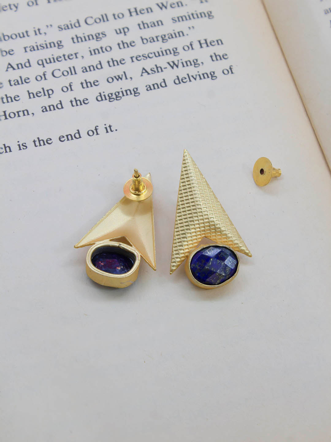 Avismaya Semi Precious Gold Plated Rocket Design Blue Color Moonstone Stud Earring-AVISMAYA-Earring