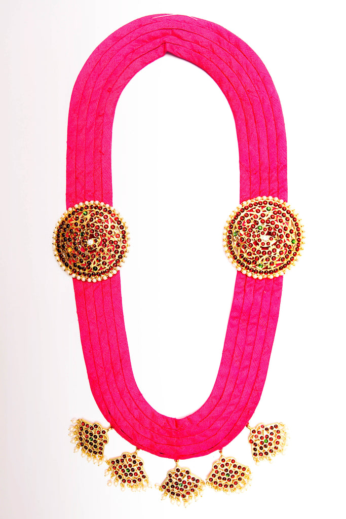 Pink Color Pooja Contemporary Temple Necklace