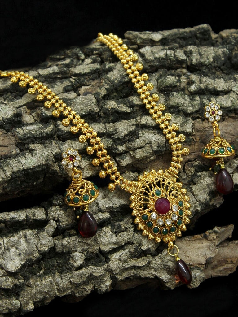 Gold Plated Two Line Necklace Set With Oval Shape Pendant Studded with Stone Traditional Jewelry-AVISMAYA1-Necklace Set