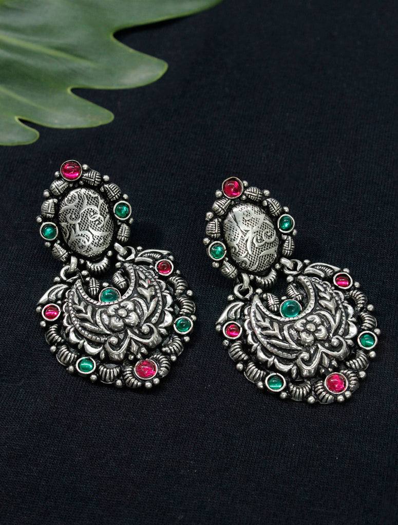 Oxidised German Silver Floral Design Dangler Earring-OXIDIZED1-Earring