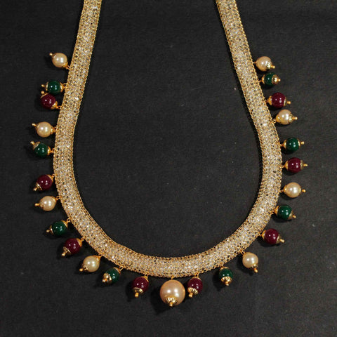 Boho Style Gold Plated Wire Mesh Necklace With Multicolour Beads