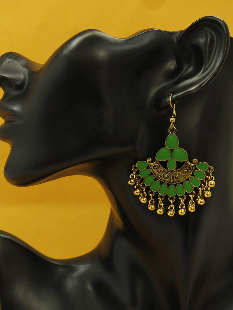 Aana Gold Plating Green And Gold Color Floral Design Afghani Earring-AANA-Earring