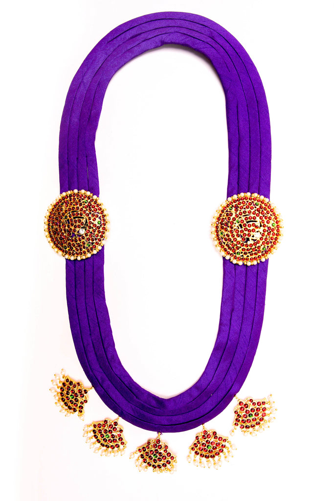 Violet Color Pooja Contemporary Temple Necklace