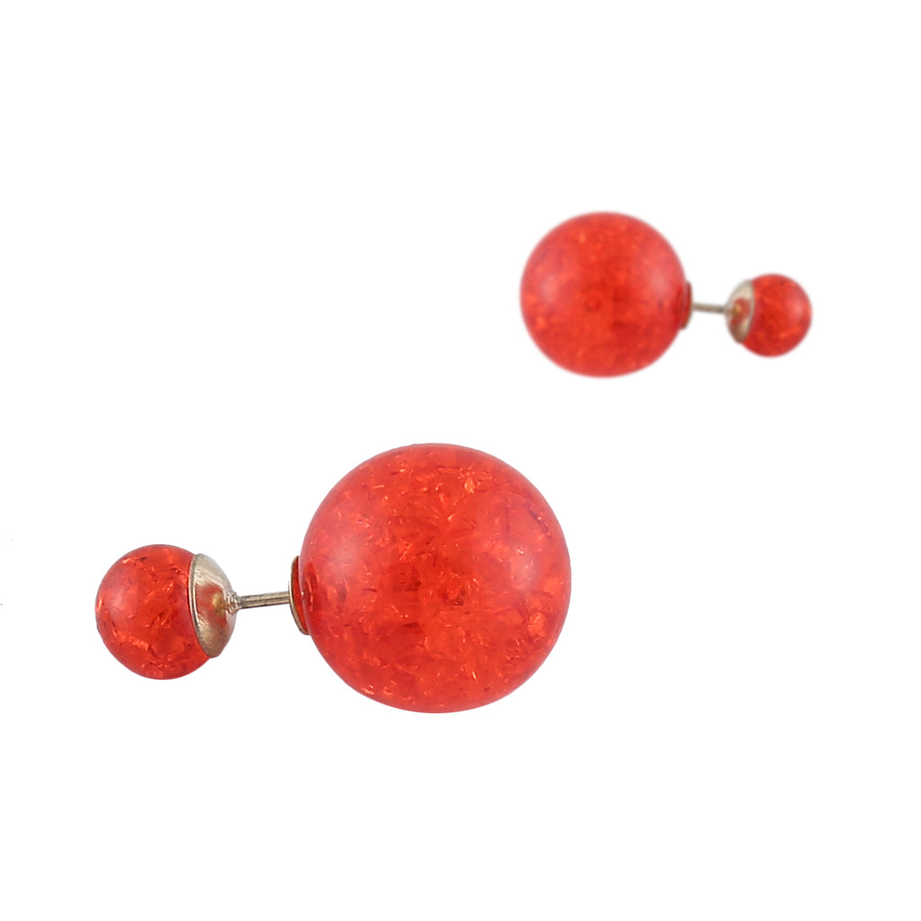 Shining Red Crystal Dual Side earring-THE BLING STORES1-Earring