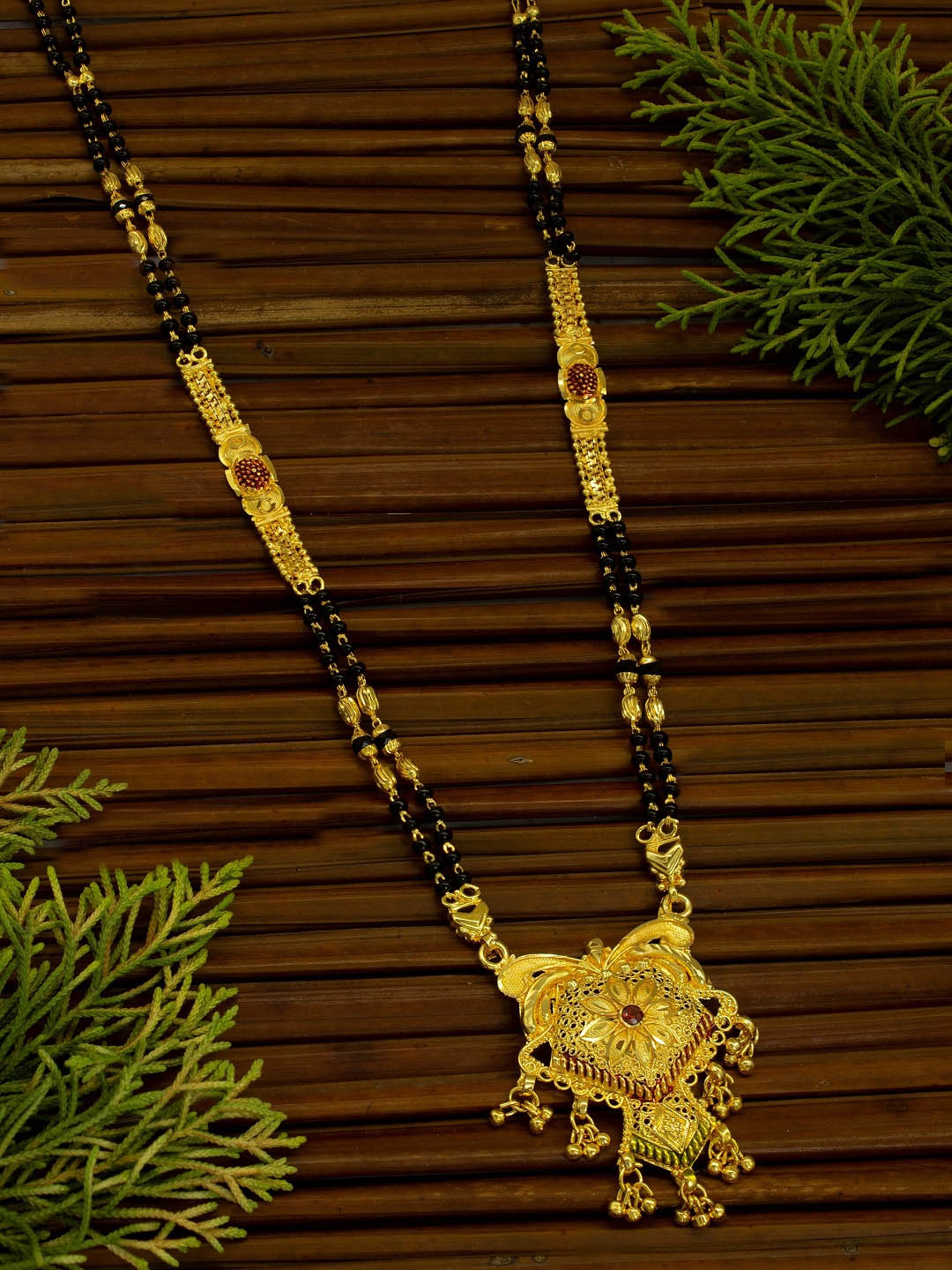 Avismaya Two layered Gold Plated Black color Beads Floral Design pendant Long necklace chain-AVISMAYA-Mangalsutra