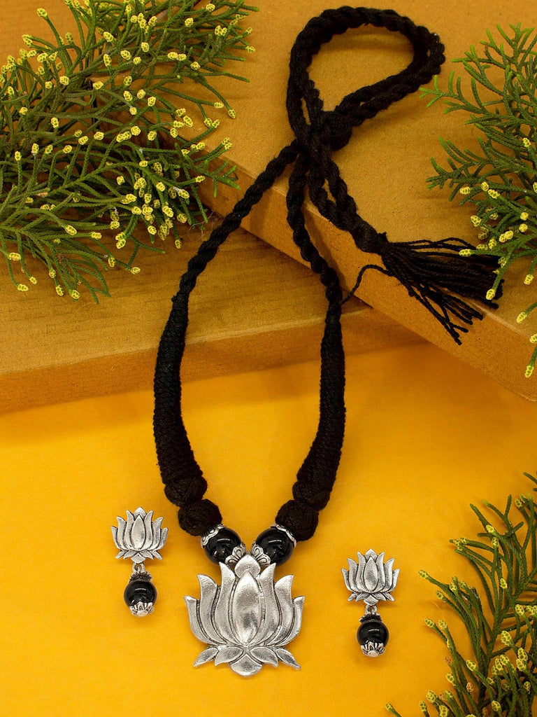 Silver plated Black Color Beads With Silver Color Lotus Design Pendant Necklace Set By Shana Fashions-SHANA FASHIONS-Necklace Set