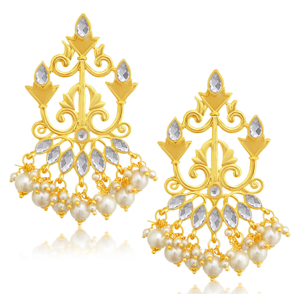 Sukkhi Elegant Gold Plated Pearl Chandelier Earring For Women-SUKKHI1-Earring