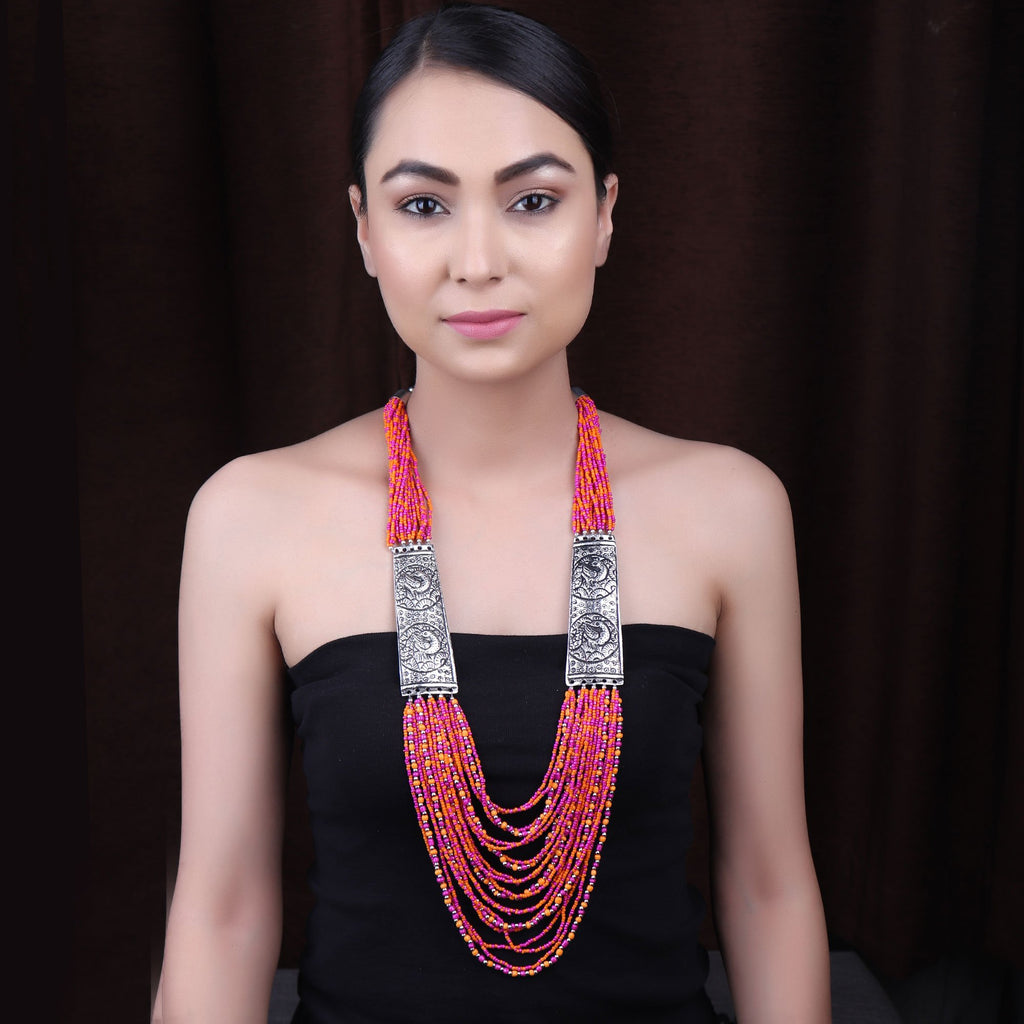 Silver Plated Multi Layered Peacock Design Side Pendants With Red Color Beads Long Necklace By Cippele-Cippele-Necklace