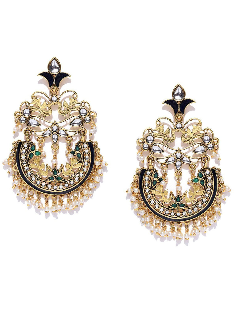 Zaveri Pearls Gold Tone Traditional Dangle And Pearls Drop Earring
