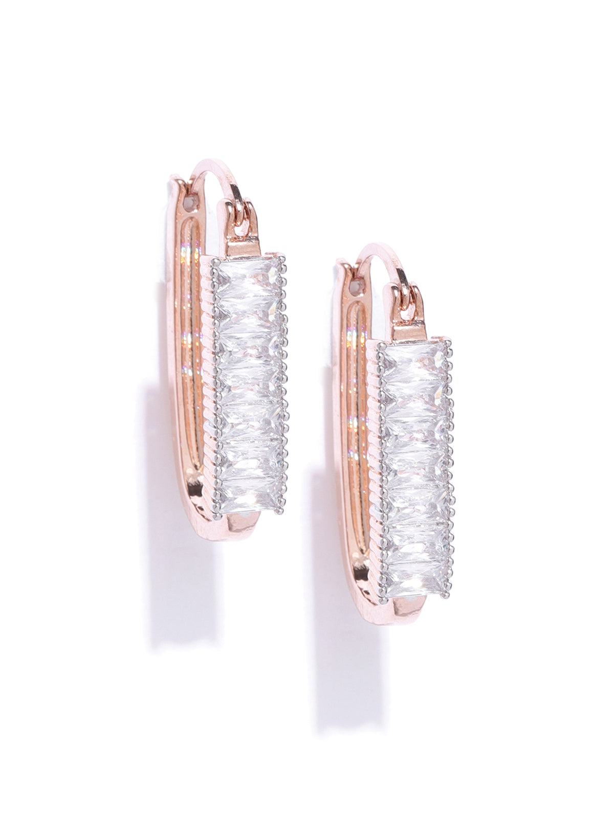 Zaveri Pearls Baguette Diamond Studded Rose Gold Contemporary Hoop Earring