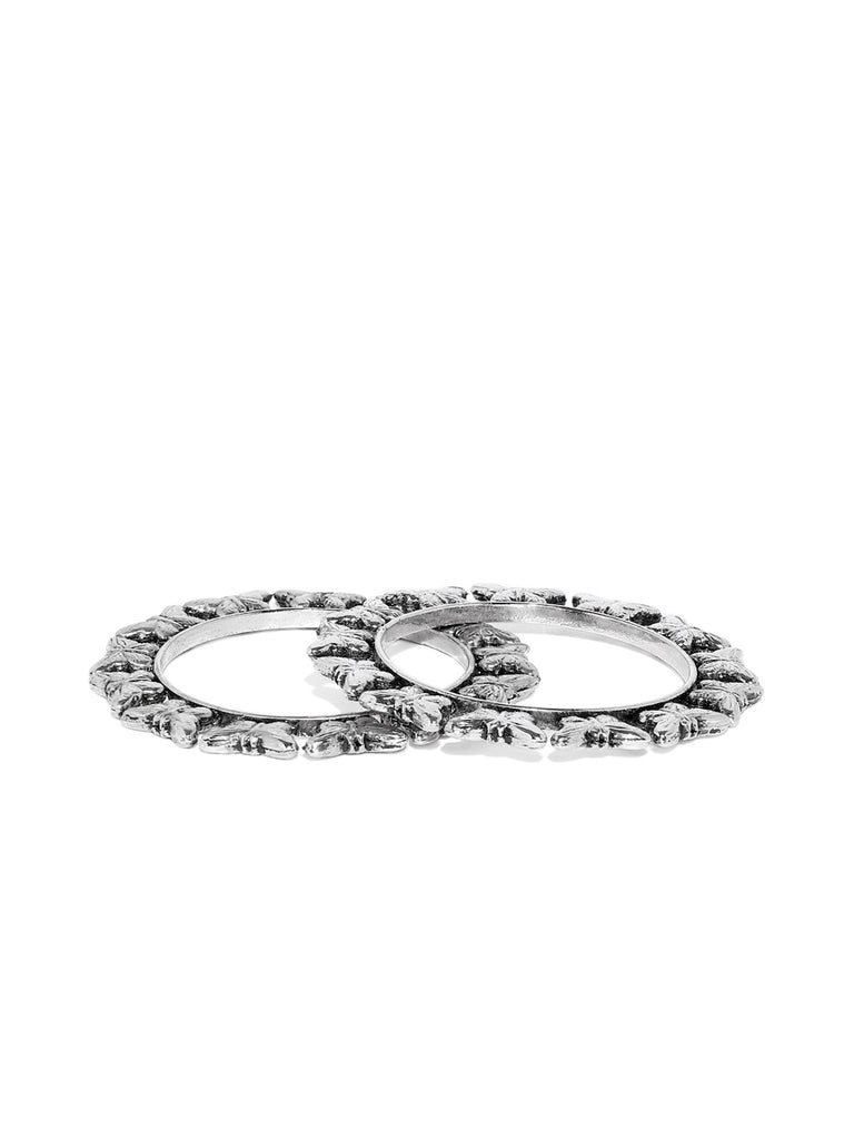 Zaveri Pearls Butterfly Design Silver Tone Bangle Set