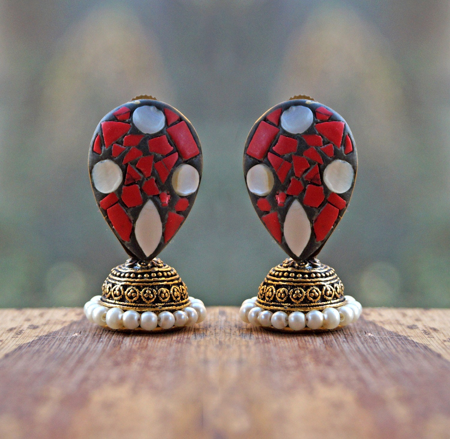 Red Mermaid Jhumka Earring-ANETRA1-Earring