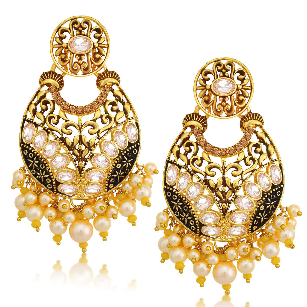 Sukkhi Charming LCT Stone Gold Plated Pearl Chandelier Earring For Women-SUKKHI1-Earring