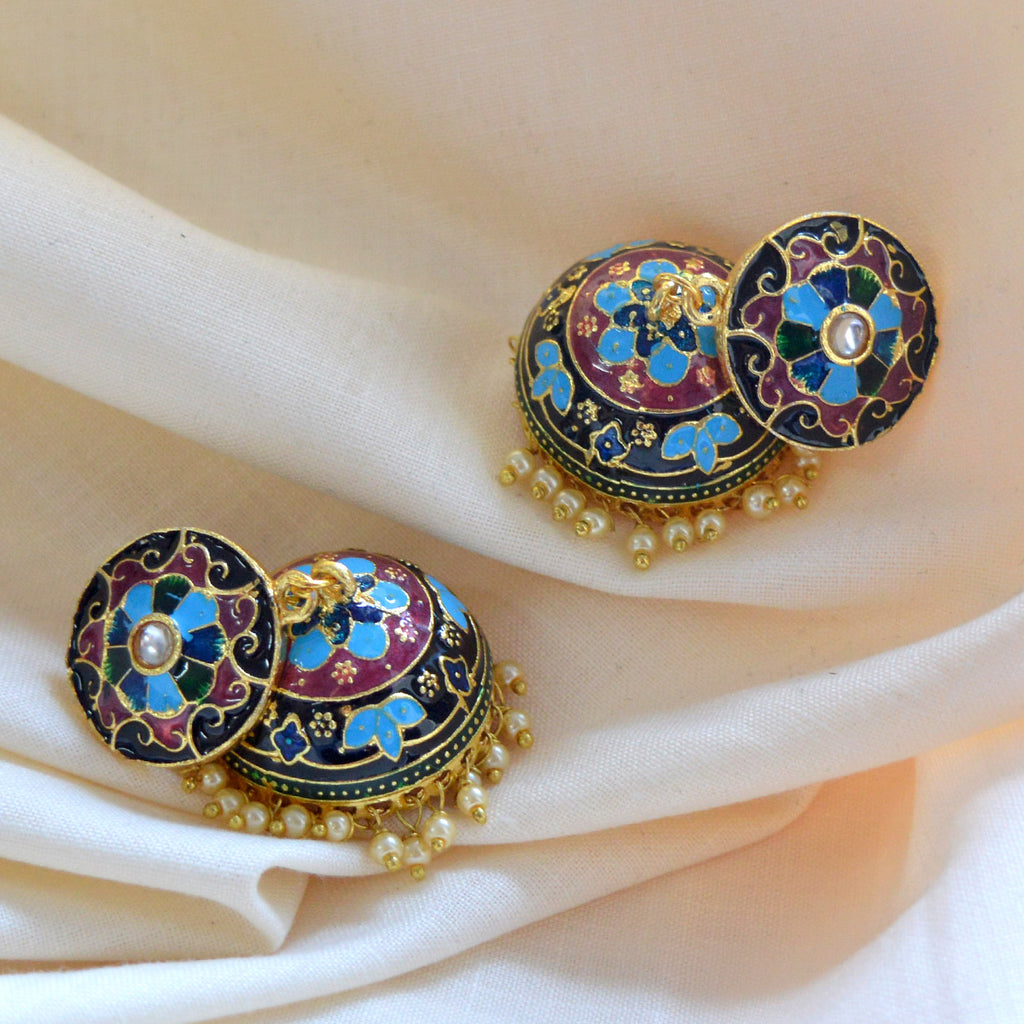 Mk Jewellers Sky Blue Color Meenakari Jhumka Earring-MK JEWELLERS1-Earring