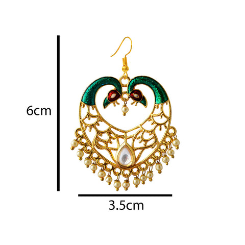 Green Meenakari Dual Peacock Crown Heart Dangler Earring