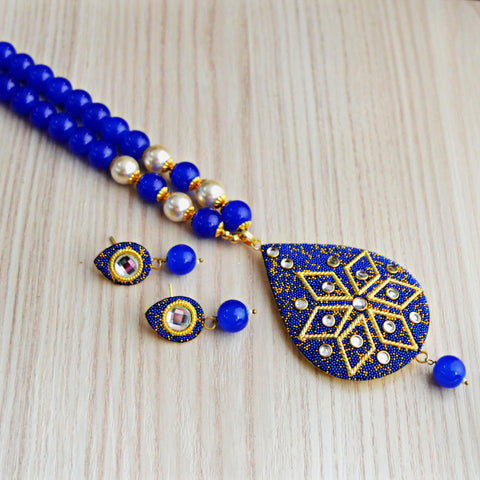 Blue Colour Beads Floral Design With Kundan Meenakari Necklace Set
