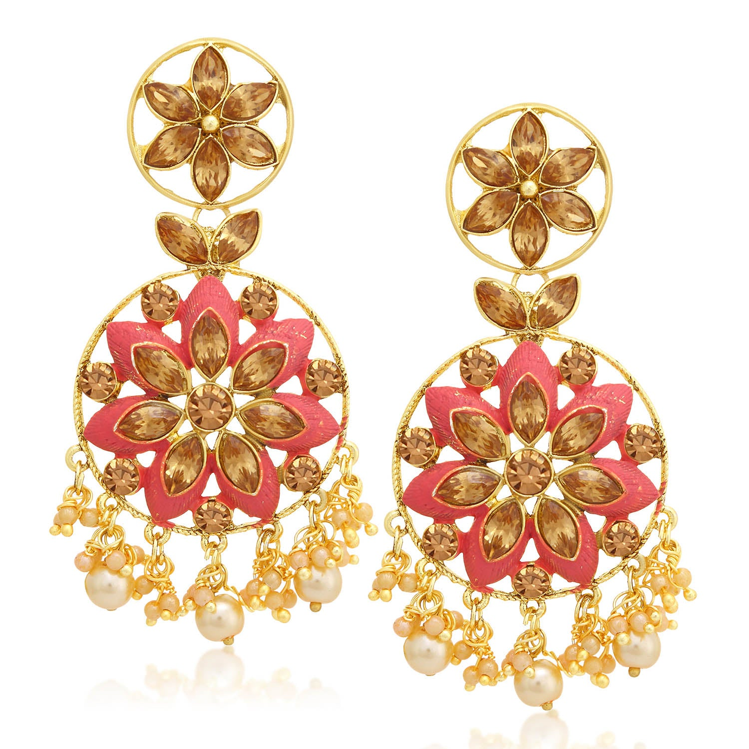 Sukkhi Floral LCT Stone Gold Plated Pearl Pink Mint Meena Collection Chandelier Earring For Women-SUKKHI1-Earring