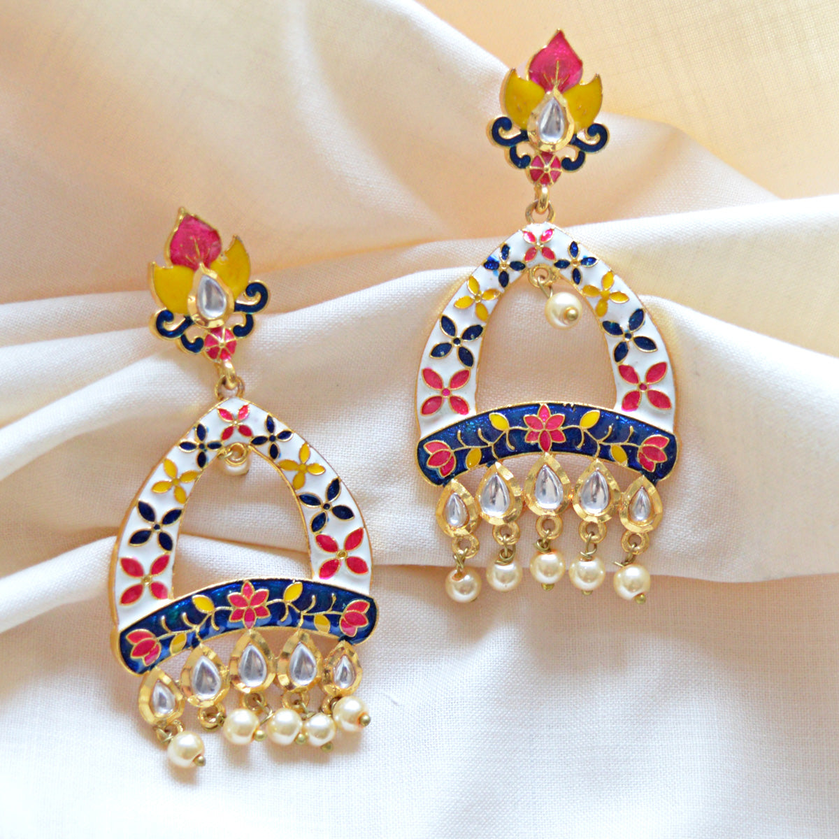 Mk Jewellers White And Black Color Meenakari Arched Design Kundan Dangler Earring-MK JEWELLERS1-Earring