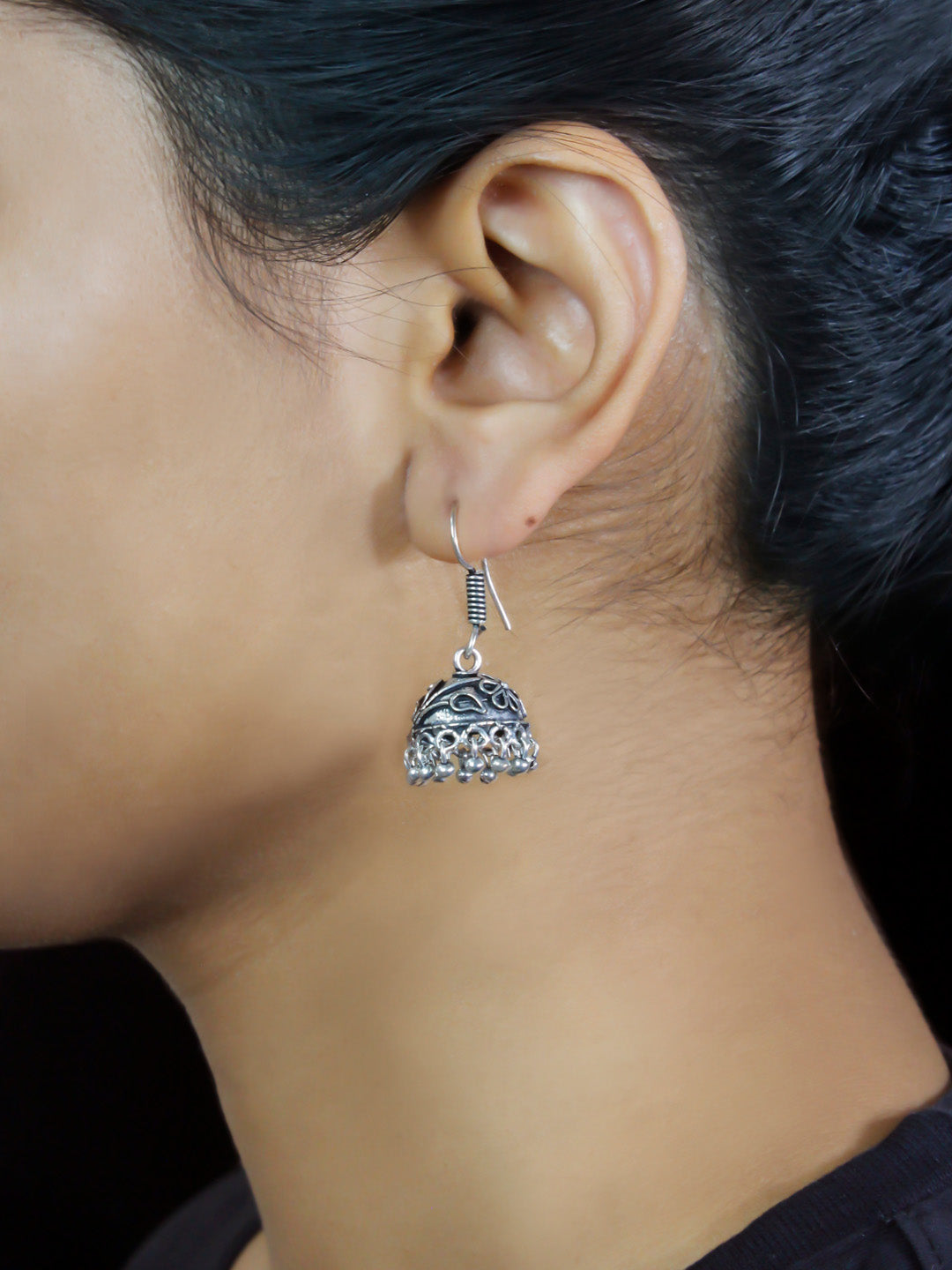 Oxidised Floral Design Small Jhumka Earring-OXIDIZED-Earring
